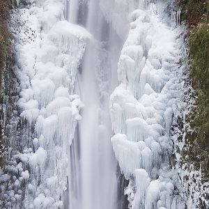 Lower Multnomah Falls On Ice