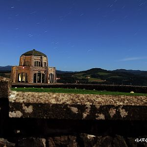 Star trails over the  Vista house