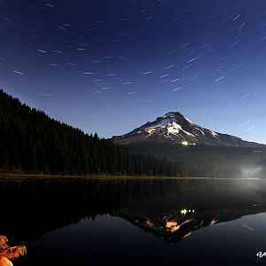 Star trails over Trillium Lake and Mt Hood Oregon