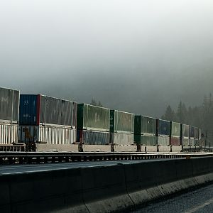 containers east, semi west