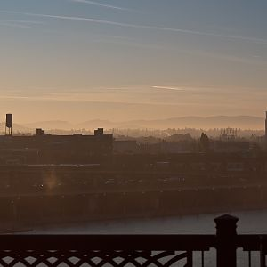 Early morning mist over the city