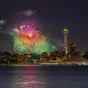 Space Needle and Fireworks on July 4th